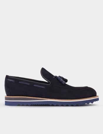 Hakiki Süet Lacivert Loafer Erkek Ayakkabı