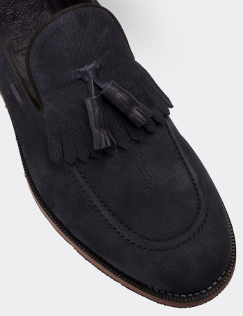 Hakiki Nubuk Lacivert Loafer Erkek Ayakkabı