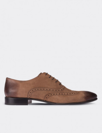 Hakiki Deri Kahverengi Nubuk Erkek Ayakkabı