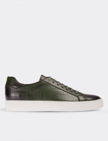 Hakiki Deri Yeşil Sneaker Erkek Ayakkabı