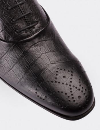 Hakiki Deri Kroko Desen Siyah Klasik Erkek Ayakkabı