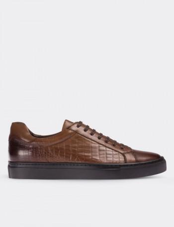 Hakiki Deri Kroko Kahverengi Sneaker Erkek Ayakkabı