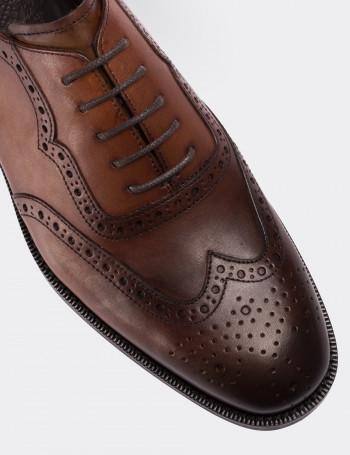 Hakiki Deri Taba Rengi Vintage Klasik Erkek Ayakkabı
