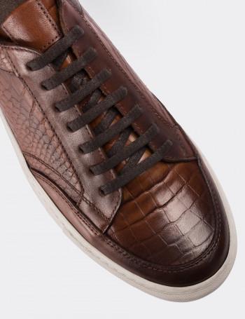 Hakiki Deri Taba Rengi Kroko Sneaker Erkek Ayakkabı