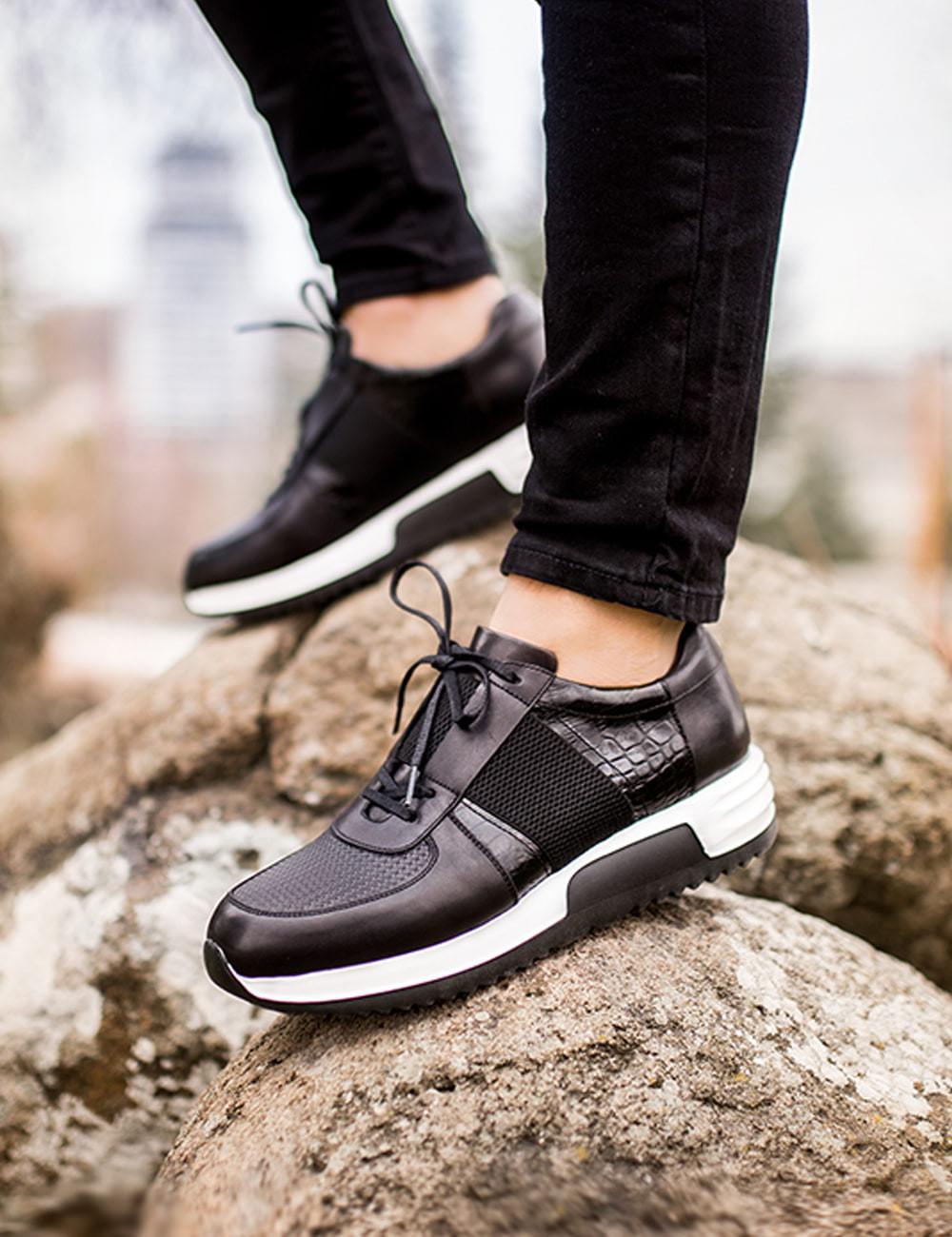 Hakiki Deri Siyah Özel Üretim Spor Erkek Ayakkabı - 01693MSYHE01