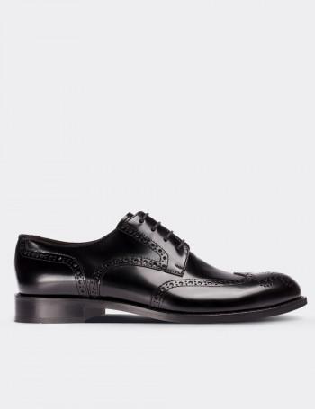 Hakiki Deri Siyah Klasik Oxford Erkek Ayakkabı