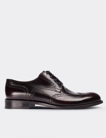 Hakiki Deri Bordo Klasik Oxford Erkek Ayakkabı