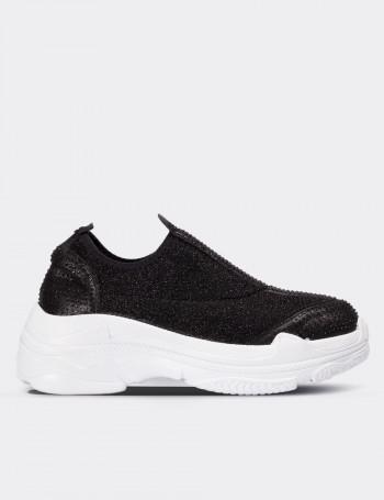 Siyah Simli Stretch Kadın Sneaker