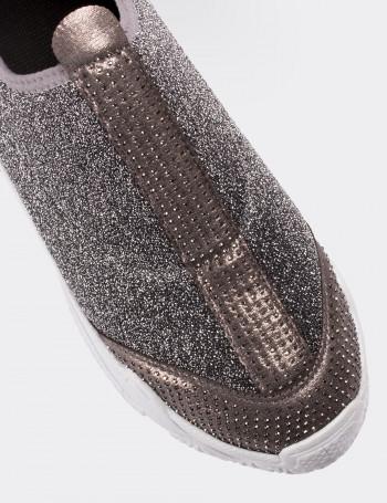 Gümüş Rengi Simli Stretch Kadın Sneaker
