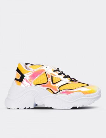 Sarı Hologramlı Kadın Sneaker Ayakkabı