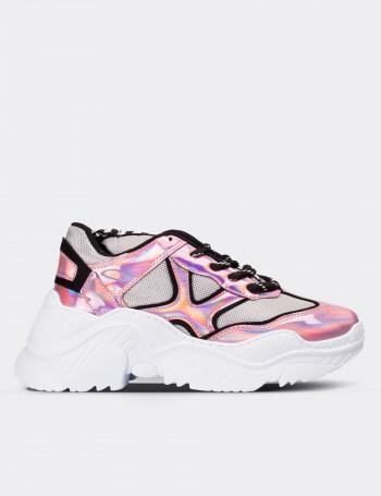 Pembe Hologramlı Sneaker Kadın Ayakkabı