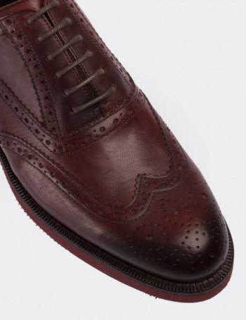 Hakiki Deri Bordo Oxford Erkek Ayakkabı