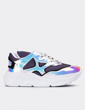 Mavi Hologramlı Kadın Sneaker Ayakkabı