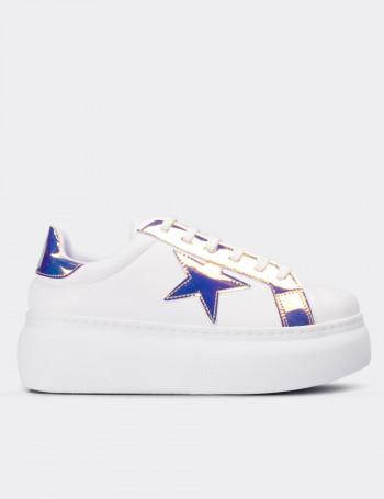 Mavi Hologramlı Sneaker Kadın Ayakkabı