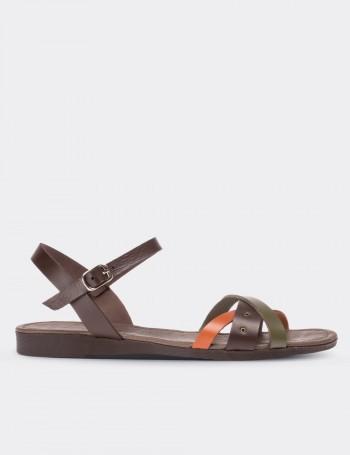 Hakiki Deri Kahverengi Kadın Sandalet