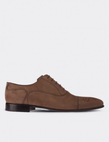 Hakiki Deri Vizon Rengi Nubuk Erkek Ayakkabı