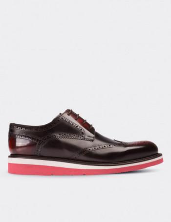 Hakiki Deri Bordo Finisajlı Oxford Erkek Ayakkabı