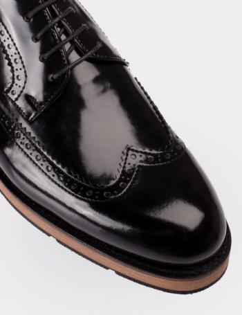 Hakiki Deri Siyah Rugan Günlük Erkek Ayakkabı