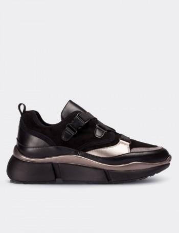 Siyah Bağcıksız Kadın Sneaker
