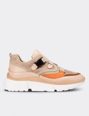 Bej Bağcıksız Kadın Sneaker