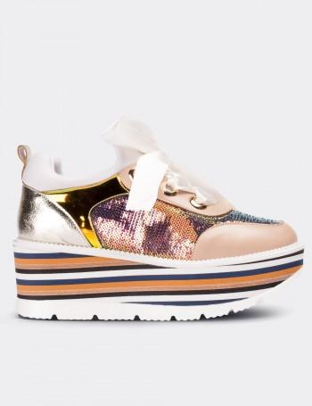 Bej Yüksek Taban Pullu Kadın Sneaker