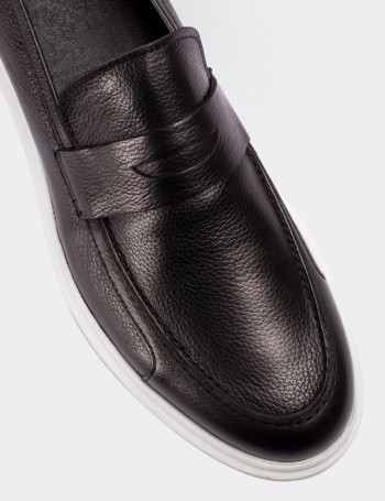 Hakiki Floter Deri Siyah Loafer Erkek Ayakkabı