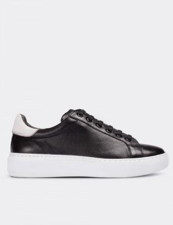 Hakiki Deri Siyah Kadın Sneaker