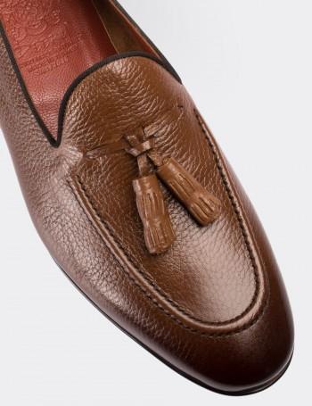 Hakiki Deri Taba Rengi Püsküllü Loafer