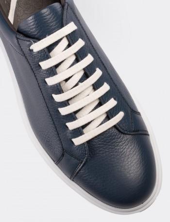 Hakiki Deri Mavi Spor Erkek Ayakkabı