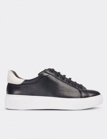 Hakiki Deri Lacivert Sneaker Kadın Ayakkabı