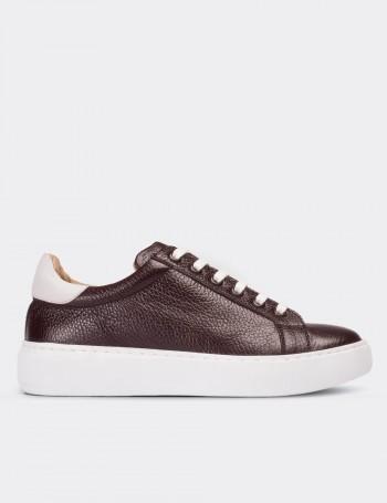 Hakiki Deri Bordo Sneaker Kadın Ayakkabı