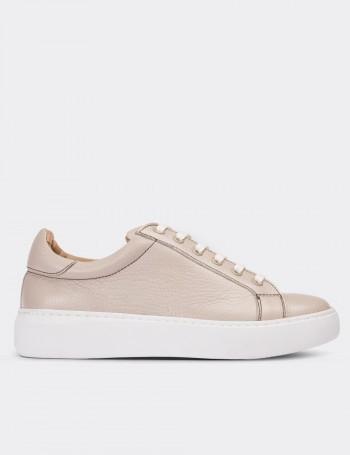 Hakiki Deri Bej Sneaker Kadın Ayakkabı
