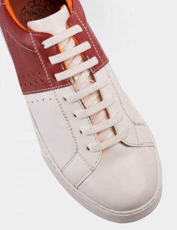 Hakiki Deri Kırmızı Sneaker Erkek Ayakkabı