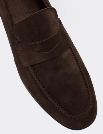 Hakiki Süet Kahverengi Loafer Erkek Ayakkabı