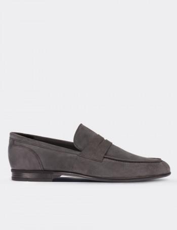 Hakiki Süet Gri Loafer Erkek Ayakkabı