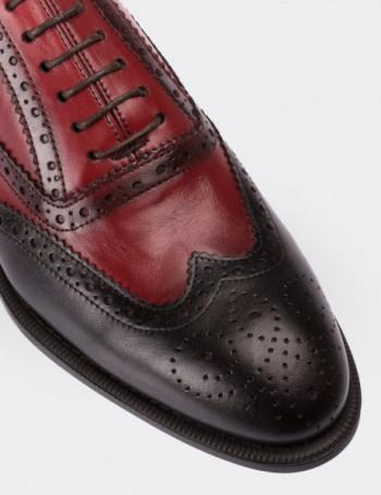 Hakiki Deri Kırmızı - Siyah Oxford Erkek Ayakkabı