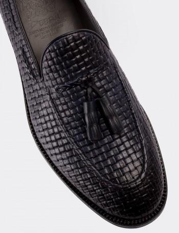 Hakiki Deri Lacivert Püsküllü Erkek Loafer