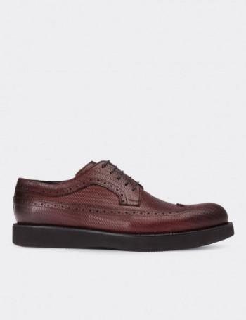 Hakiki Deri Örgü Desen Finisajlı Bordo Erkek Ayakkabı
