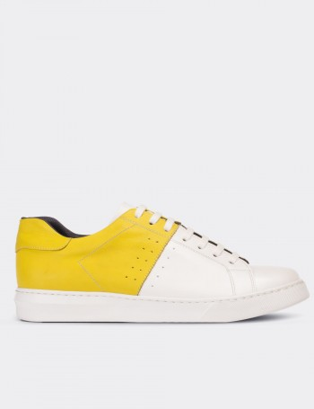 Hakiki Deri Sarı Beyaz Erkek Sneaker