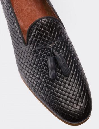 Hakiki Deri Lacivert Erkek Loafer Loafer