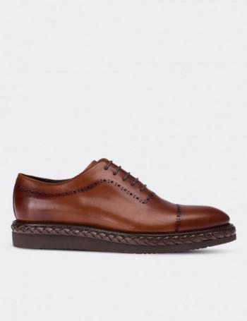 Hakiki Deri Örgü Eva Tabanlı Taba Rengi Erkek Ayakkabı