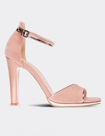 Pudra Rengi Topuklu Kadın Ayakkabı