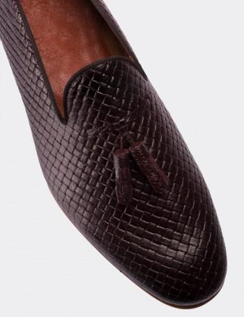 Hakiki Deri Kahverengi Püsküllü Erkek Loafer