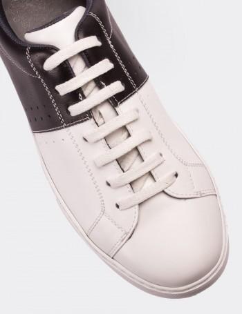 Hakiki Deri Siyah Erkek Sneaker Ayakkabı