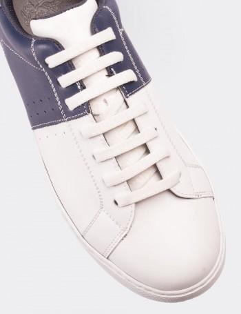 Hakiki Deri Lacivert Erkek Sneaker Ayakkabı