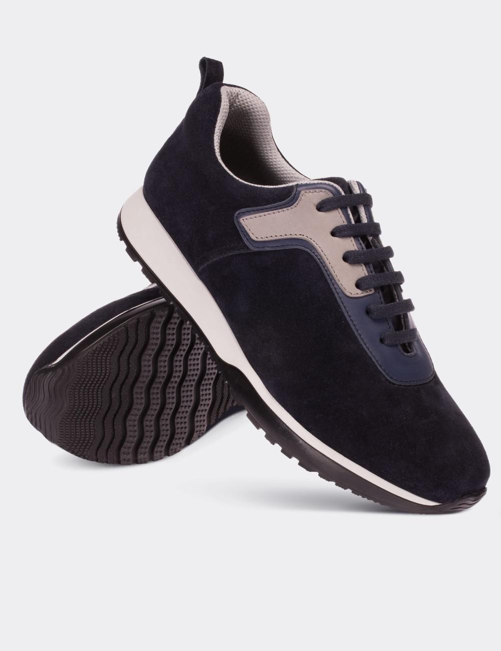 Hakiki Süet Lacivert Sneaker Erkek Ayakkabı - 01730MLCVT01