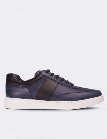Hakiki Deri Lacivert Sneaker Erkek Ayakkabı