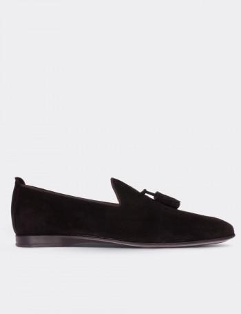Hakiki Süet Siyah Erkek Loafer Ayakkabı