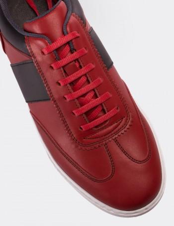 Hakiki Deri Kırmızı Erkek Sneaker Ayakkabı