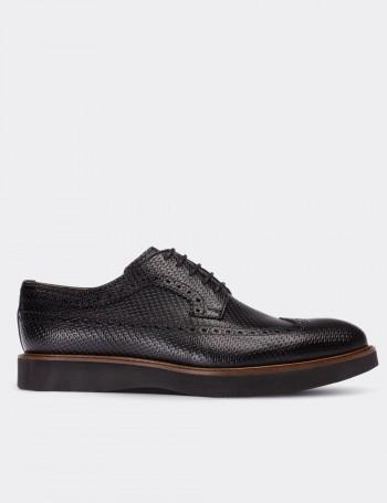 Hakiki Deri Örgü Baskı Siyah Günlük Erkek Ayakkabı